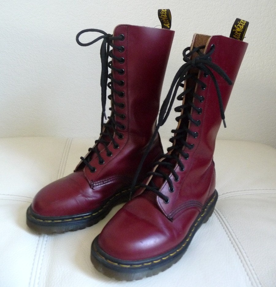 Vintage RED Leather Tall Lace Up Dr Martens Combat by hotdate
