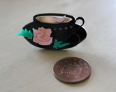 Laser cut teacup ring.  Matches Angelic Pretty's lolita series 'Wonder Party', 'Wonder Story' and other prints. 3 COLOURS.