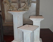 PILLAR CANDLE HOLDER - Wooden - Antiqued - White - Shabby Chic - Primitive - Set of 3