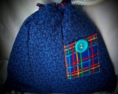 Back Pack Purse  Dark Blue Print w\/Bright plaid