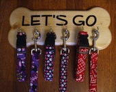 6 Hook Personalized Bone Shaped Leash And Collar Holder - Dog Leash Holder - Wooden Leash Holder - Dog Leash Hook - Dog Leash Hanger