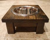 Elevated Pet Feeder - 1 Qt 4 Inch Single - Raised Dog Food Bowl - Wooden Pet Feeder - Elevated Dog Dish - Raised Dog Dish - Classic Design
