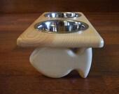 Raised Cat Feeder 1 Pint 4 Inch Double - Raised Cat Bowl - 2 Bowl Cat Feeder - Elevated Cat Feeder - Cat Feeding Station - Wooden Cat Feeder