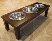 Raised Dog Feeder 2 Qt & 1 Qt 8 Inch Triple - Classic Design - Elevated Pet Feeder - Raised Dog Bowl - Elevated Dog Bowl - Dog Bowl Stand