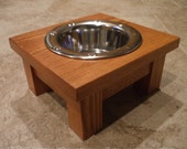 1 Pint 4 Inch Single - Ergonomically Designed Elevated Pet Feeder - Stained the Color of Your Choice