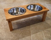 Elevated Pet Feeder 2 Quart 8 Inch Double - Classic Design - Raised Dog Food Bowl - Wooden Pet Feeder - Elevated Dog Dish - Raised Dog Dish