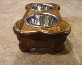 Raised Dog Feeder 1 Pt 4 Inch Double - Bone Design - Elevated Pet Feeder - Raised Dog Bowl - Elevated Dog Bow -Small Dog Raised Pet Bowls
