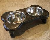 Raised Dog Feeder 1 Pt 4 Inch Double - Bone Design - Elevated Pet Feeder - Raised Dog Bowl - Elevated Dog Bowl - Small Dog Raised Pet Bowls