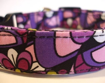 Dog Collars With Curb Appeal - Pizazz  Design - Adjustable Dog Collar Available In Five Sizes - Fashionable Dog Collars - Purple Dog Collar