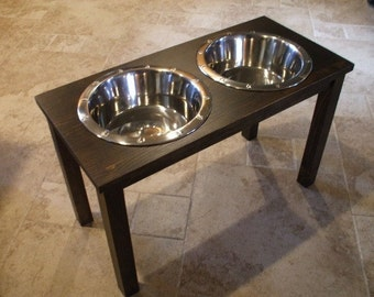Raised Dog Feeder 3 Qt 16 Inch Double Classic Design - Elevated Pet Feeder - Raised Dog Bowl - Elevated Dog Bowl - Dog Bowl Stand  Large Dog