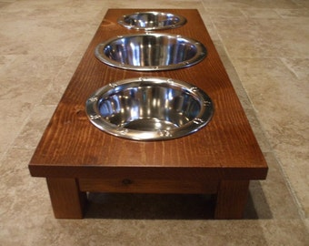 2 Quart and 1 Quart 4 Inch Triple - Ergonomically Designed Elevated Pet Feeder - Stained Red Oak