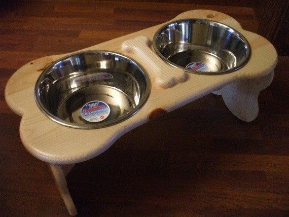 5 Quart 12 Inch Double - Ergonomically Designed Elevated Pet Feeder - Stained the Color of Your Choice