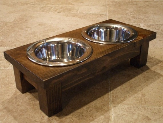 1 Pint 4 Inch Double - Ergonomically Designed Elevated Pet Feeder - Stained Dark Walnut