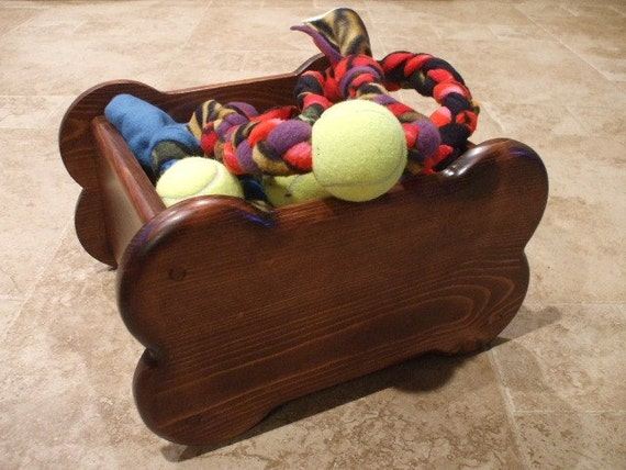 Dog Toy Box Small Bone Shaped Wooden Toy Box Dog by WoodinYou