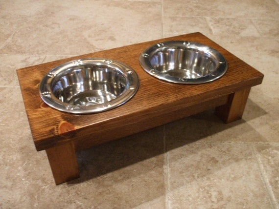 1 Pint 4 Inch Double - Ergonomically Designed Elevated Pet Feeder - Stained the Color of Your Choice