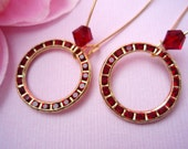 GARNET ETERNITY, Vintage Red Earrings, Red Rhinestone Earrings, Eternity Jewelry
