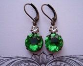 BLOWOUT SALE  ZEST, Spring Wedding, Estate Style Earrings, Vintage Peridot Green Rhinestone Earrings, Vintage Rhinestone Drop Earrings