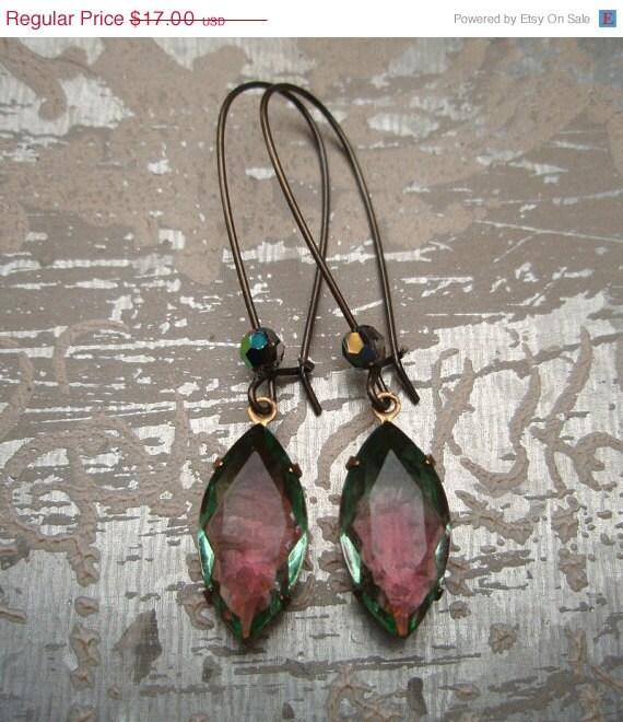 Valentine Sale 15% OFF LAST Pair, Vintage Pink and Green Rhinestone Earrings, Vintage Rhinestone Drop Earrings, Bridesmaids Gifts, Watermel