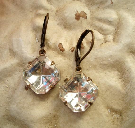 AUDREY, Vintage Bride, Bridesmaid Gift, Clear Rhinestones, Wedding Earrings, Vintage Bridal Jewelry