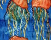 Jelly fish In The Deep Blue Sea Original Watercolor