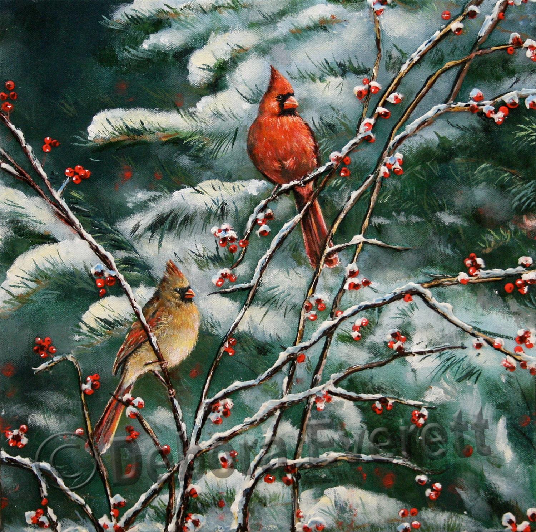 Original Cardinal Bird Winter Snow Scene Textured by ...