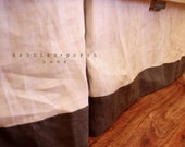 CHIC...Gray lined white crib bed skirt