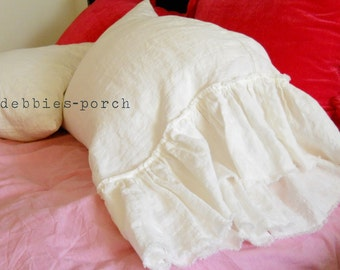 LILY...PILLOW COVER....tube style with frayed large ruffle linen (set of 2).