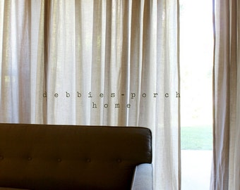 French pleated curtain..A pair of curtain panel... 100% linen