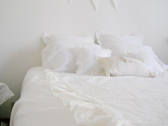 Reserved for Renea - LILLY...King size duvet cover & two euro shams with frayed ruffles