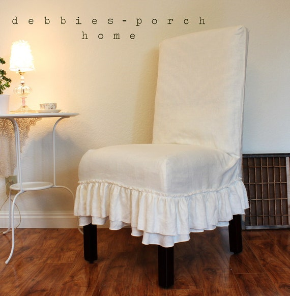 Custom chair slip covers in linen for Custom furniture seat covers