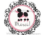 """Paris Poodle Thank You Stickers, Scalloped Circle """"Merci"""" stickers, set of 50"""
