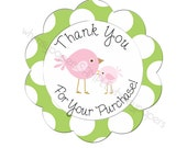 "Pretty Little Birds Scalloped Circle ""Thank You for your Purchase"" stickers - set of 50"