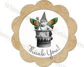Vintage Thank You stickers - set of 50