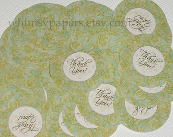 "Elegant Green Damask ""Thank You"" Stickers"