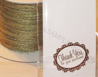 """Brown Gingham Scalloped Oval """"Thank You for your Purchase"""" Stickers - set of 50"""