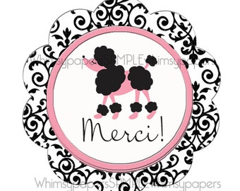 "Paris Poodle Thank You Stickers, Scalloped Circle ""Merci"" stickers, set of 50"
