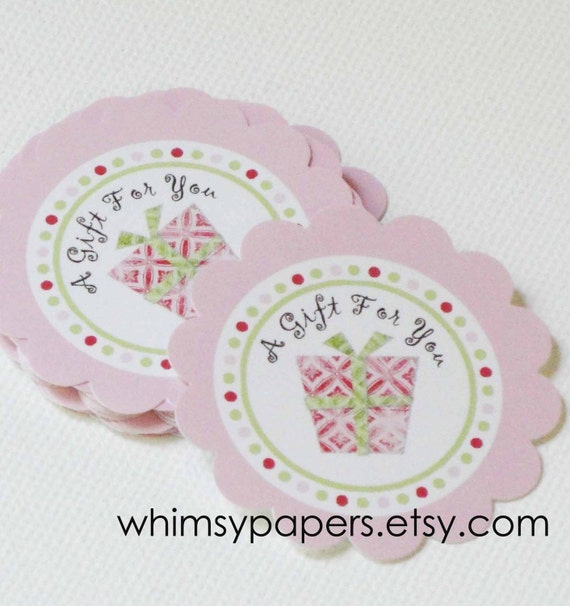 """Large Pink Scalloped """"A Gift for You"""" Stickers - set of 50"""