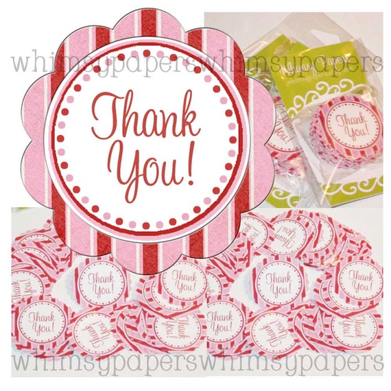 """Peppermint Candy Stripes and Polka Dots Scalloped Circle """"Thank You"""" stickers - set of 50"""