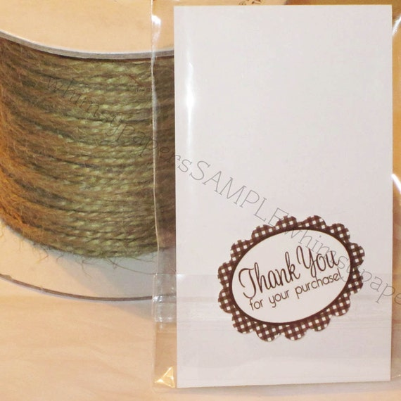 "Brown Gingham Scalloped Oval ""Thank You for your Purchase"" Stickers - set of 50"