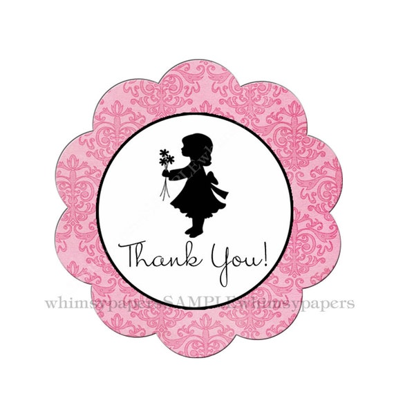 "Silhouette Girl with Flowers ""Thank You"" Pink Damask Scalloped Circle Stickers - set of 50"
