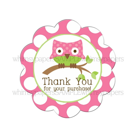 """Pink Owl Polka Dot Scalloped Circle """"Thank You for your Purchase"""" stickers - set of 50"""