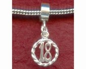 Sterling Silver 18th Birthday Charm fits most european Bracelets number 18