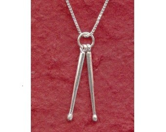 Sterling Silver DRUMSTICKS Necklace 925 Drum Sticks Pendant and Chain