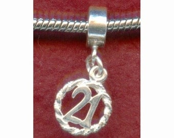 Sterling Silver 21st Birthday Charm fits most Bracelets Number 21