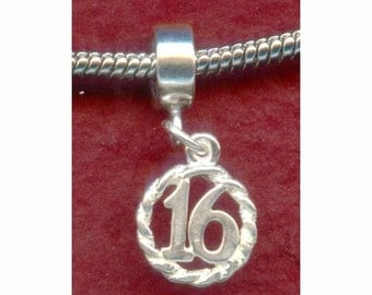 Sterling Silver 16th Birthday Charm fits many Bracelets Number 16