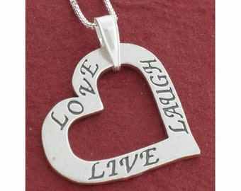 Love Live Laugh Necklace, Sterling Silver Heart Necklace
