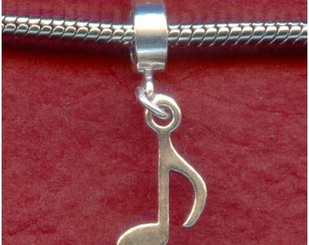 Sterling Silver Music Note Charm fits most Bracelets