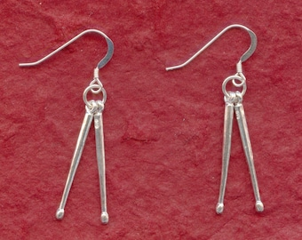 Sterling Silver DRUMSTICKS Earrings 925 Drum Sticks