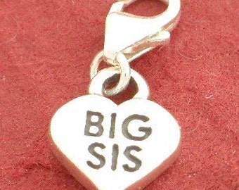 Sterling Silver BIG SIS Sister CLIP On Charm Solid 925 New Gift