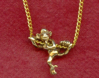 Climbing MONKEY Pendant on Gold Plated chain Necklace Chimp
